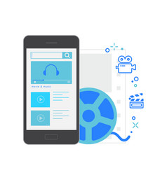 mobile application interface movie and music vector image vector image