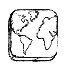 monochrome sketch of square button with map vector image