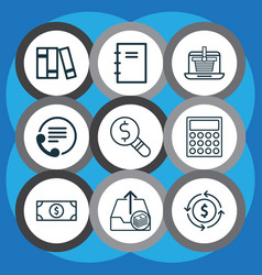 set of 9 commerce icons includes outgoing vector image vector image