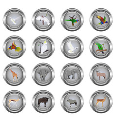 Set of metal buttons for web round with images o vector