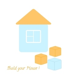 Simple blue house and three blocks vector