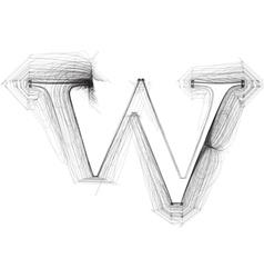 Sketch font letter w vector