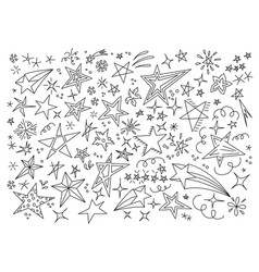 stars hand drawn doodle star icon childrens vector image vector image