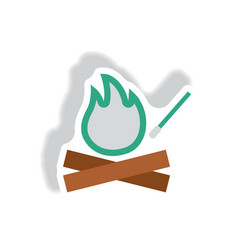 Stylish icon in paper sticker style fire and match vector