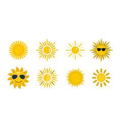 sun icon set flat style vector image