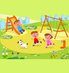 three kids playing at the playground vector image vector image