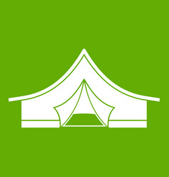 tourist tent icon green vector image