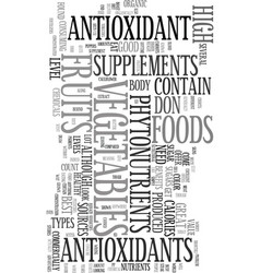 Your body and antioxidant foods text word cloud vector
