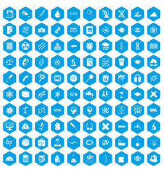 100 microscope icons set blue vector image vector image