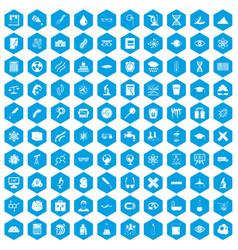 100 microscope icons set blue vector