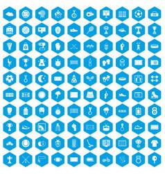 100 stadium icons set blue vector