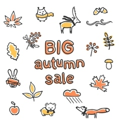 Big autumn sale poster animals and plants vector