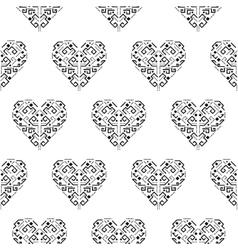 Tribal heart shape ornament seamless vector