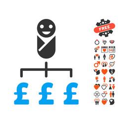 Kid pound expenses icon with dating bonus vector