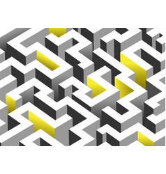 Black white and yellow maze labyrinth endless vector