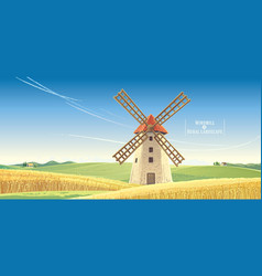 Rural landscape with windmill vector