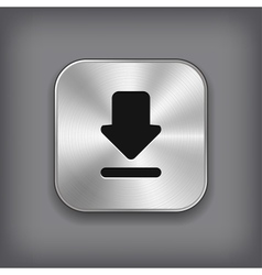 Download icon - metal app button vector image
