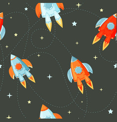 Rocket flat seamless pattern for project start up vector