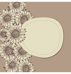 seamless vintage ornament with sunflowers vector image