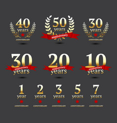 Set of anniversary golden signs vector