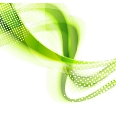 Abstract green smooth wavy bright background vector