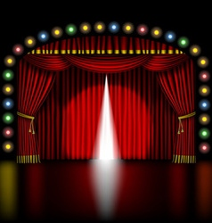 Stage with opening red curtain vector