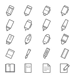 Drawing and writing painting tools icons vector