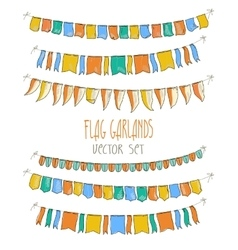 Colorful flag garlands on vector