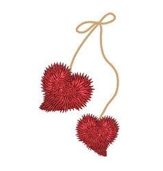 two fluffy hearts vector image