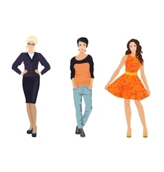Fashionable females girls in different dress vector image