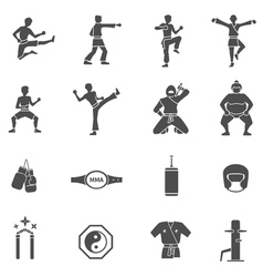Martial Arts Black White Icons Set vector image