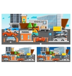Shopping mall parking compositions set vector