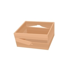 Broken wooden crate icon cartoon style vector