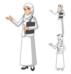 Muslim woman doctor wearing white veil or scarf vector