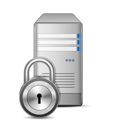 Protected computer server vector image