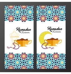 Ramadan holiday cards with islamic pattern vector
