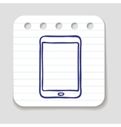 Doodle tablet touch pad icon vector