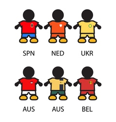 Set of footbalsoccer team players vector