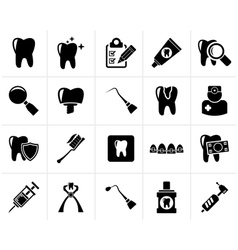 Black dental medicine and tools icons vector