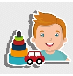 boy toy car cartoon vector image