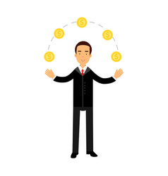 Businessman character juggling with gold dollar vector
