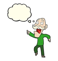 Cartoon frightened old man with thought bubble vector