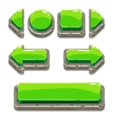 Cartoon green stone buttons for game or web design vector image vector image