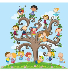 Children and tree vector image vector image