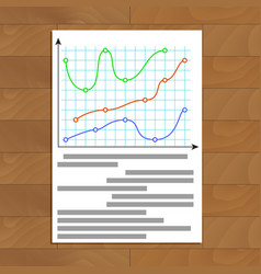 Document with color curve line graphic vector