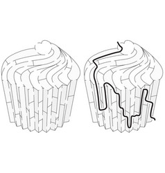 easy cup cake maze vector image vector image