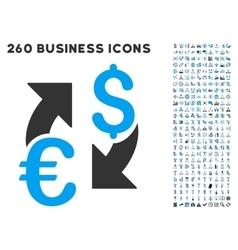 Euro dollar exchange icon with flat set vector