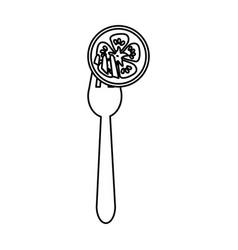Figure fresh slice tomato in the fork utensil vector