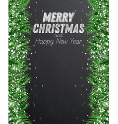 fir branch with snowflakes on chalkboard vector image vector image