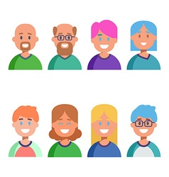 Flat design colorful icons collection of people vector
